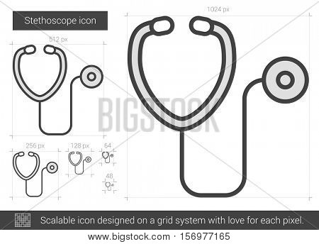 Stethoscope vector line icon isolated on white background. Stethoscope line icon for infographic, website or app. Scalable icon designed on a grid system.
