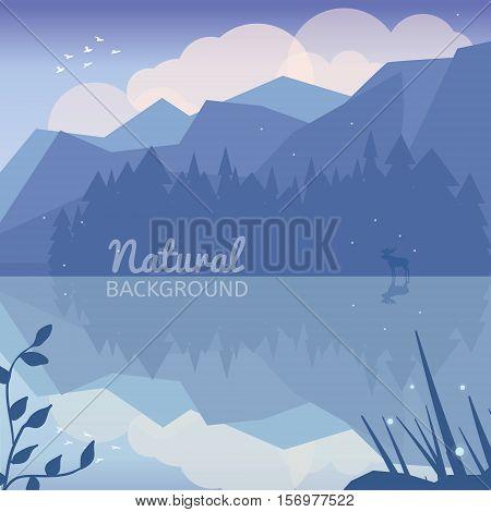 Alaska landscape natural background. Landscape with forest mountains deer lake and clouds. Landscape reflection in the lake. Northen ladscape.