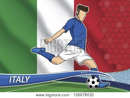 Vector illustration of football player shooting on goal. Soccer team player in uniform with state national flag of Italy.