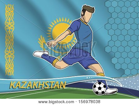 Vector illustration of football player shooting on goal. Soccer team player in uniform with state national flag of Kazakhstan.
