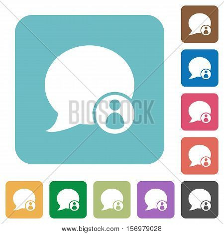 Blog comment sender white flat icons on color rounded square backgrounds