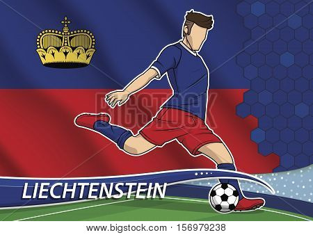Vector illustration of football player shooting on goal. Soccer team player in uniform with state national flag of Liechtenstein.