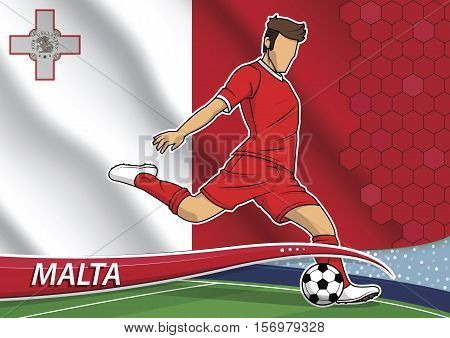 Vector illustration of football player shooting on goal. Soccer team player in uniform with state national flag of Malta.