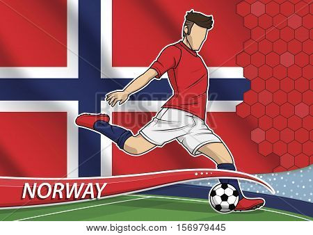 Vector illustration of football player shooting on goal. Soccer team player in uniform with state national flag of Norway.