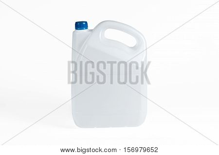 White plastic jerrycan with blue cap on white background.