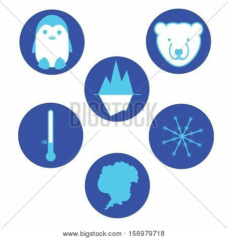 Set of flat icons South pole Antarctica.