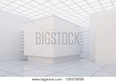 3d illustration. White modern interior of a non-existent building with square ceiling cubic stand and space for exhibitions. Render showroom.