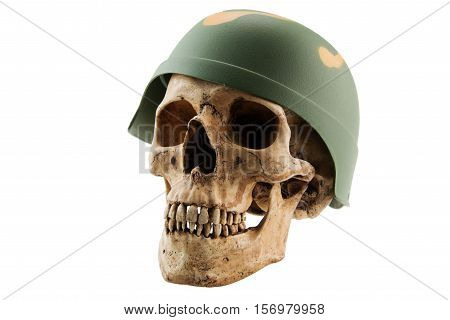 Human skull in soldier helmet on white isolated background,Concept with Halloween