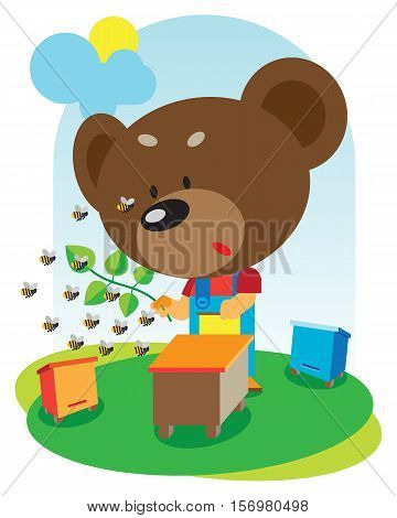 animal baby is bear near beehive.vector illustration