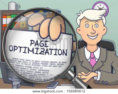 Page Optimization. Young Business Man Welcomes in Office and Showing Paper with Concept through Lens. Multicolor Doodle Style Illustration.