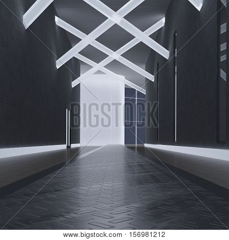 3d illustration. A render of a modern interior non-existent building. The room with dark walls and floor and luminescent elements on the ceiling.