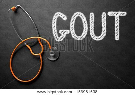 Medical Concept: Gout - Text on Black Chalkboard with Orange Stethoscope. Medical Concept: Gout - Medical Concept on Black Chalkboard. 3D Rendering.