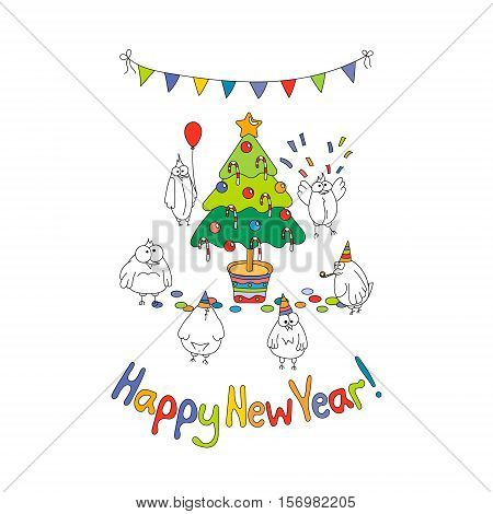 Happy New Year greeting card with cartoon funny birds. Hand draw vector illustration. Bright colors.