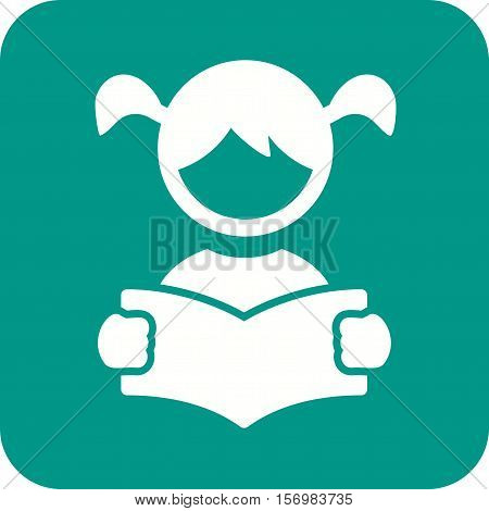 Reading, book, girl icon vector image. Can also be used for kids. Suitable for web apps, mobile apps and print media.