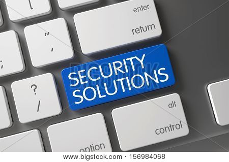 Concept of Security Solutions, with Security Solutions on Blue Enter Keypad on Slim Aluminum Keyboard. 3D Illustration.