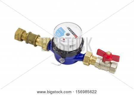 Not connected residential mechanical water meter for consumption measuring of a cold water with some plumbing components on a light background