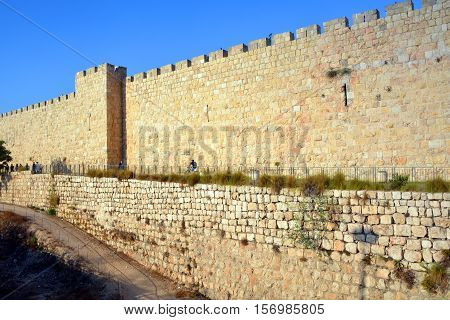 Walls of Jerusalem surround the Old City of Jerusalem. In 1535 when Jerusalem was part of the Ottoman Empire, Sultan Suleiman I ordered the ruined city walls to be rebuilt in 4 years 1537 & 1541