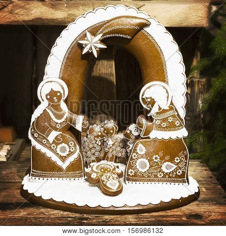 Bethlehem gingerbread home-made traditional in the Czech Republic. Handcarved