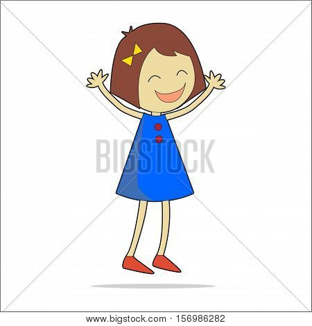 Vector character illustration. Cute little girl. Cartoon personage isolated on white background.