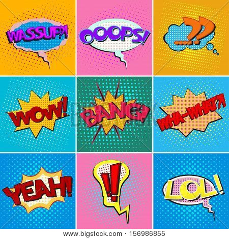Pop art speech bubbles with texts, colorful comic book speech bubbles set with texts on a dots pattern backgrounds in retro style, vector