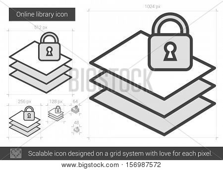 Online library vector line icon isolated on white background. Online library line icon for infographic, website or app. Scalable icon designed on a grid system.