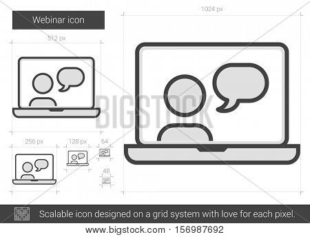 Webinar vector line icon isolated on white background. Webinar line icon for infographic, website or app. Scalable icon designed on a grid system.
