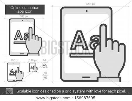 Online education app vector line icon isolated on white background. Online education app line icon for infographic, website or app. Scalable icon designed on a grid system.