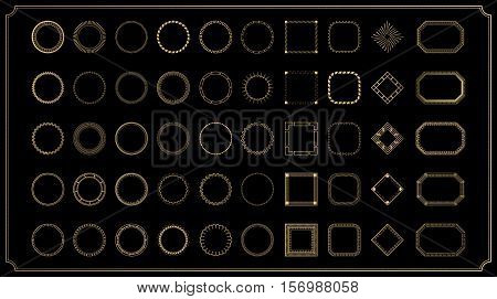 Vintage gold round objects. Vector decorative sample. Set fractal and swirl shape elements. Diaphragm, border, outline yellow color on dark background. Round light shapes