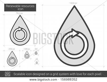 Renewable resources vector line icon isolated on white background. Renewable resources line icon for infographic, website or app. Scalable icon designed on a grid system.