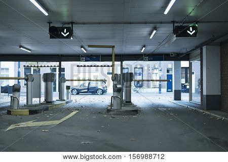 Exit Gates With Payment Machine In Parking Garage.