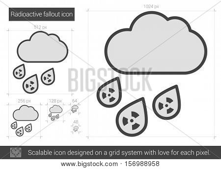 Radioactive fallout vector line icon isolated on white background. Radioactive fallout line icon for infographic, website or app. Scalable icon designed on a grid system.