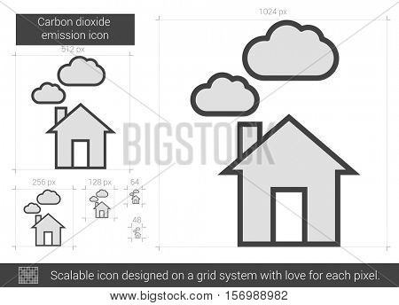 Carbon dioxide emission vector line icon isolated on white background. Carbon dioxide emission line icon for infographic, website or app. Scalable icon designed on a grid system.