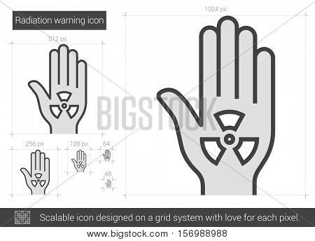 Radiation warning vector line icon isolated on white background. Radiation warning line icon for infographic, website or app. Scalable icon designed on a grid system.