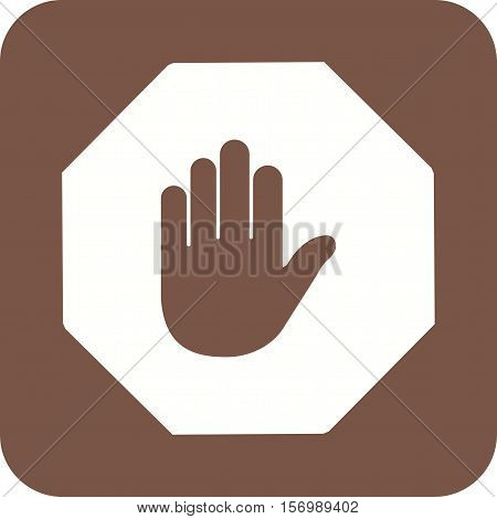 Halt, hand, stop icon vector image. Can also be used for warning caution. Suitable for use on web apps, mobile apps and print media.