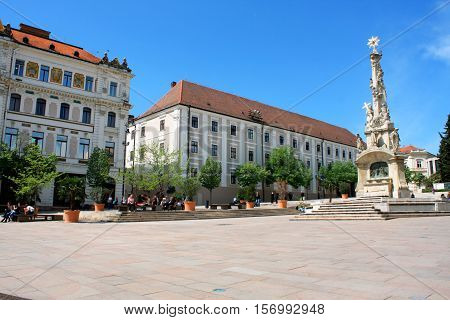 Main city Square of Pecs in Hungary. Pecs - city in Baranya county.