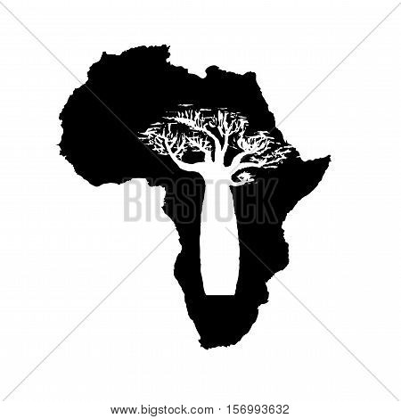 Vector silhouette of black Africa with white baobab silhouette inside.