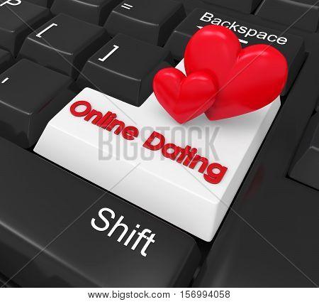 Online Dating Enter Button Illustration. 3D render