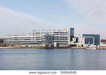 Aarhus, Denmark - November 12, 2016: Aarhus harbor with Navitas and Bestseller buildings, Denmark