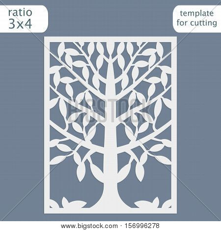 Laser cut wedding invitation card template. Cut out the paper card with lace pattern. Greeting card template for cutting plotter. Natural tree ornament. Vector.