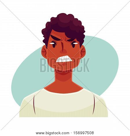 Young african man face, angry facial expression, cartoon vector illustrations isolated on blue background. Handsome boy frowns, feeling distresses, frustrated, sullen, upset. Angry face expression