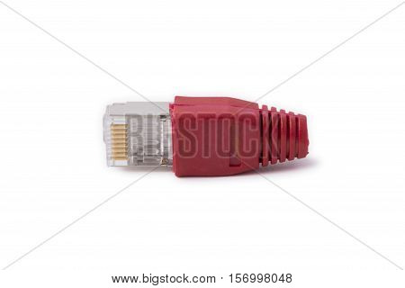 ethernet connector RJ45 6 category with a red cap on a white background