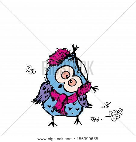 Owl Wearing A Warm Scarf