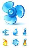 air-conditioner icons - blow, direction, temperature, heating, cooling, moisture poster