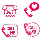 vector sex call service  line or love call icons poster