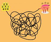 brain cartoon character vector illustration solving a tangled line to get big money (conceptual image about a person try to solve a solution to succeed with stress and frustrated) poster