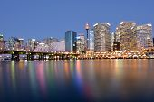Cityscape of Darling Harbour at dusk a recreational and pedestrian precinct situated on western outskirts of the Sydney central business district in New South Wales Australia. poster