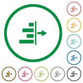 Decrease right indent flat color icons in round outlines poster