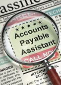 Newspaper with Jobs Section Vacancy Accounts Payable Assistant. Accounts Payable Assistant. Newspaper with the Classified Advertisement of Hiring. Job Search Concept. Blurred Image. 3D Render. poster