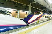 UTSUNOMIYA JAPAN - 22 OCTOBER 2016: E2 Series Shinkansen Train stopping side-by-side at Utsunomiya Station Japan on Oct 22 2016. These train are gradually replaced by E7 series Shinkansen train. poster