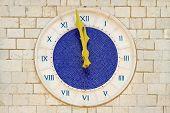 Twelve o clock at old blue Roman clock poster